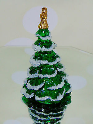 """NEW Fenton Green Glass Snow Frosted CHRISTMAS TREE GOLD ANGEL TOP FIGURINE 3.5"""""""
