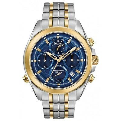 New Bulova Precisionist Two-Tone Chronograph Blue Dial Two-Tone Bracelet 98B276