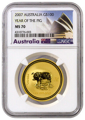 2007 Australia Gold $100 Year of the Pig NGC MS70 (Exclusive Label) SKU39653