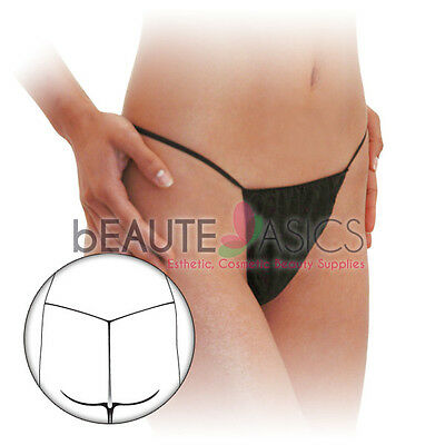 12 Disposable Black T-string Thong Panties Spray Tanning Treatments- #DP108 x1