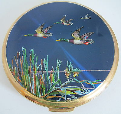 Stratton Convertible powder compact with flying ducks, reeds & bulrushes design