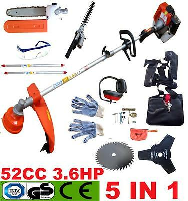 5 In 1 Petrol Strimmer Garden Grass Brushcutter Hedge Trimmer Chainsaw Powerful