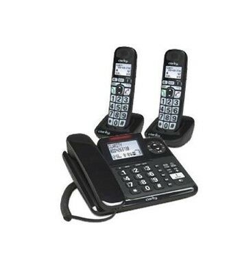 Clarity 40dB Amplified Corded-Cordless Phone Answer Machine CID Display E814CC2