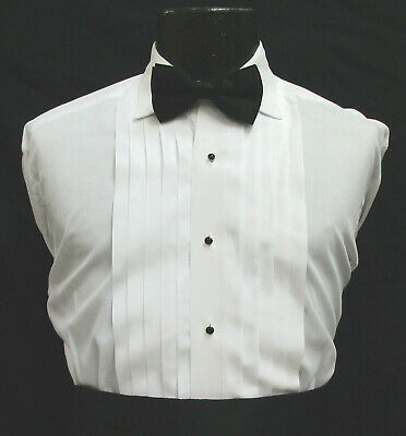 White Pleated Front Laydown Collar Tuxedo Shirt Wedding Prom Mason *Choose Size*