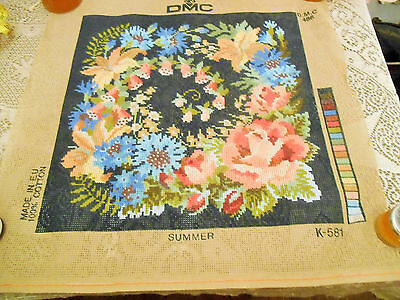 New Tapestry Dmc Canvas Cotton Flowers Summer Rose Blue Square Cushion Picture