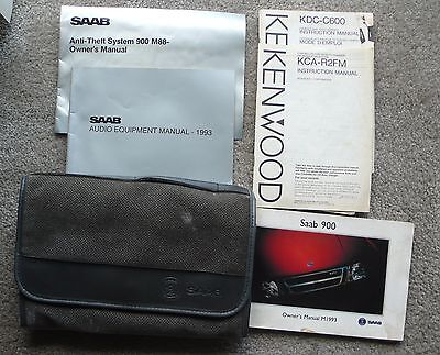 Classic Saab 1993 900 Gray Owner's Manual Pouch with Various Manuals.