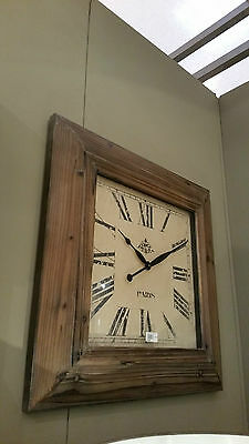 Extra Large High Quality Square Wooden 'Paris' Timber Roman Numeral Clock