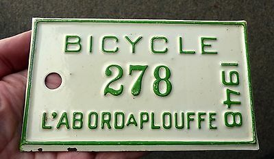 Superb Quebec 1948 'L'ABORD A PLOUFFE' unused bicycle license plate #278
