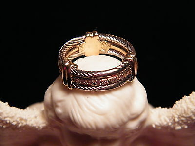 Charriol White Yellow Solid 18 Kt Gold Anniversary Cable Ring