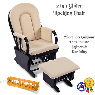 Wooden Glider Rocking Chair Ottoman Footrest Baby Feed Nursery Seat Black Frame