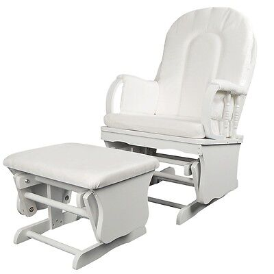 Glider Rocking Chair Ottoman Footrest Wooden Relax Baby Feeding Nursery Seat NEW