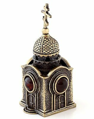Orthodox Chapel Collectible Bell Brass & Baltic Amber Church Miniature Figurine