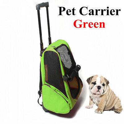Green Rolling Carrier Stroller Back Pack Luggage Dog Puppy Trolley Bag Travel UK