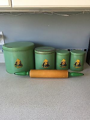 Vintage 4 Pc. Silhouette Green Canister Set & Matching Green Handled Rolling Pin