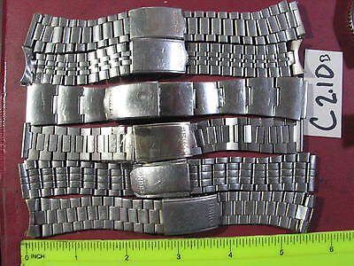 6pc Vintage SEIKO Stainless BAND Gents 18-19mm Parts Watch AsIs C2.10