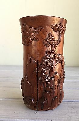Antique Scholar Brush Pot Wood Carved Bitong Chinese Japanese Low Relief c.1800s