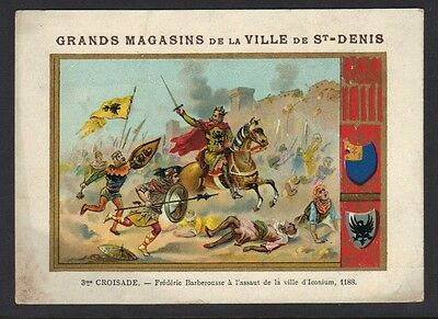 PALESTINE FRANCE 189O's FRENCH ADV. CARD CHOCOLATE W/COLORED VIEW OF THE CAPTURE