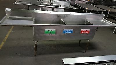 Stainless Steel 2 Compartment 9' Commercial Sink with Two Drainboards