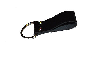 "Black Leather Belt Loop Key Holder 3 1/4 "" w/D Ring for Contractors/General Use"