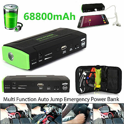 New Top 68800mAh 4 USB Power Bank Car Jump Starter Portable Emergency Charger UK