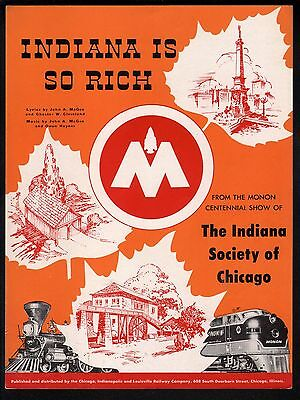 Indiana Is So Rich 1947 Monon Centennial Show of Indiana society of Chicago Shee