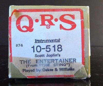 QRS Word Roll Player Piano Scott Joplin's THE ENTERTAINER FROM THE STING 10-518