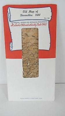 Old Map Of Devonshire 1610 Authentic Replica On Antiqued Parchment Paper