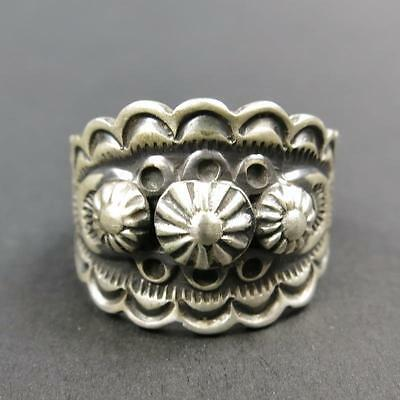 Native American Navajo Stampwork 925 Sterling Silver Old Style Mens Ring Size 10