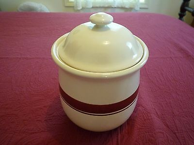Cookie Jar Canister Cream Colored w/ Thick & Thin Brown Horizontal Lines Japan