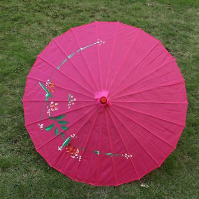 Vintage Chinese Rose Red Cloth Bamboo Craft Floral Umbrella Parasol