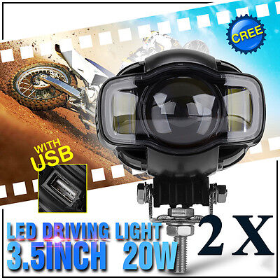 Motorcycle LED Twin Headlight Spotlight Fog Light Lamp with USB Charger Harley