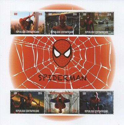 Spiderman Comic Book Movie Republique Centrafricaine 2016 Mnh Stamp Sheetlet