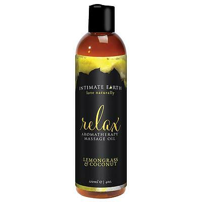 Intimate Earth Relax Aromatherapy Massage Oil - 4 oz Lemon Grass and Coconut
