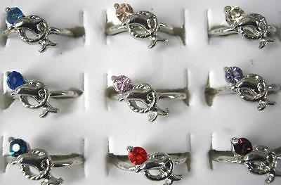 Bulk Lot x 5 Ladies Girls Silver Tone Dolphin Rhinestone Rings New Mixed Colors