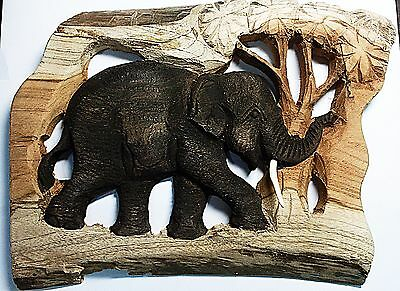 New Teak Wood Black Elephant Hand Carved 3D Wall Hanging Frame for Home Decore