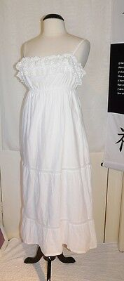 Jeans West white cotton Dress smocked back straps adjustable size 14 like NEW