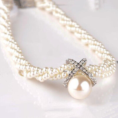 Fashion Women Pendant Chain Choker Chunky Pearl Statement Necklace Jewelry New