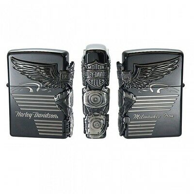 New Zippo Harley Davidson HDP-25 Limited Black Silver Plated Oil Lighter JP