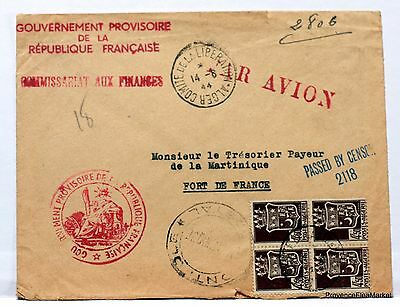 1944 WW2 ALGER  MARTINIQUE  GOUVERNEMENT PROVISOIRE FRANCE  CENSURE   201ca219
