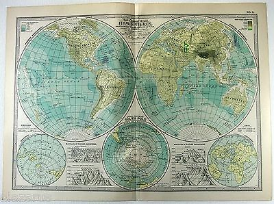 Original 1902 Map of The Hemispheres by The Century Company