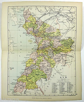 Original Philips 1882 Map of The County of Ayr Scotland by J. Bartholomew