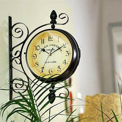 Rotating Double Side Wall Clock Garden Outdoor Station Wall Mounted w Bracket