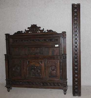 1920's Breton Quality Carved Oak Head,Foot and side rails.Double.Carved panel