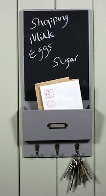 Shabby Chic Notice CHALK Memo Message Letter Black Board in Grey with Key Hooks