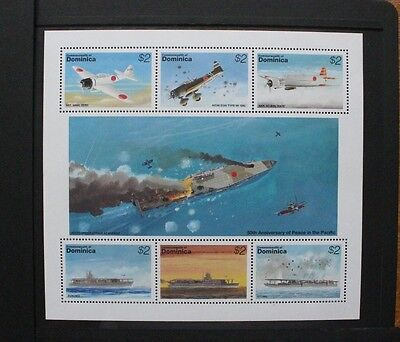 DOMINICA 1995 Peace in the Pacific Aircraft Ships. SHEETLET of 6 MNH SG1971/1976