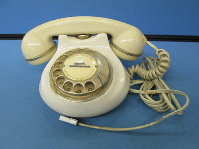 Vintage Astral Telecom Rotary Dial Corded Phone In Cream (Working)