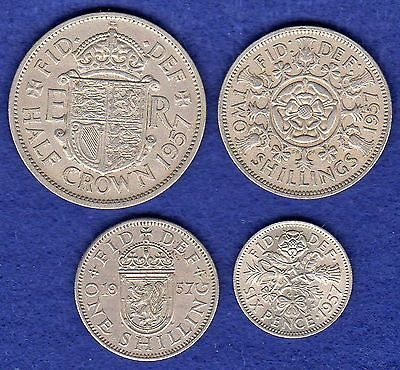 GB Elizabeth II 1957 Coin Set, Halfcrown - Sixpence, 4 Coins, 60th Birthday Gift