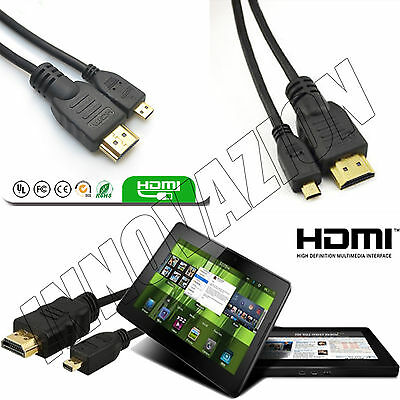 Premium Micro Hdmi 1.5m Cable For Tesco HUDL to TV HDTV Amazon Kindle Fire HD