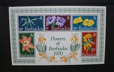 BARBADOS 1970 Flowers Orchid Lily. SOUVENIR SHEET. Mint Never Hinged. SGMS424.