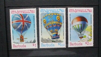 BARBUDA 1983 Manned Flight Balloons. Set of 3. Mint Never Hinged. SG663/665